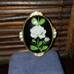 Jewelry - Reverse Painted Brooch with Rhinestones